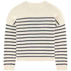 Zadig en Voltaire girls fijngebreide trui met strass steentjes met cashmere in de kleur off white
