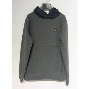 Lyle and scott junior hoody sweater in de kleur antraciet/donkerblauw