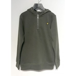 Lyle and scott junior hoody sweater met rits in de kleur army green groen