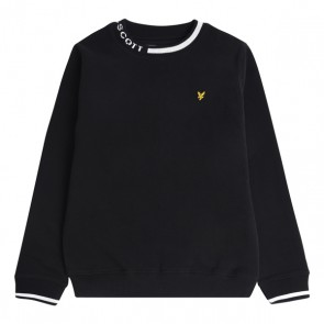 Lyle and scott junior sweater trui met logo boord in de kleur zwart