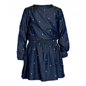 Le Big Girls soepel jeans jurkje met print van sterretjes in de kleur jeansblauw