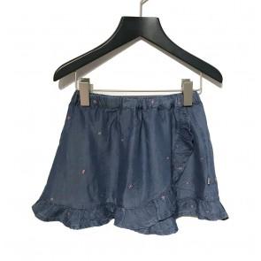 Le big girls soepel jeansrokje met geborduurde sterretjes en roezelrand in de kleur jeansblauw