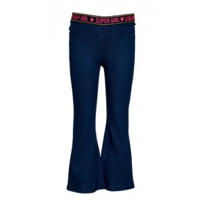 Le Big girls stretch jeans flared broek elastiek band in de kleur jeansblauw