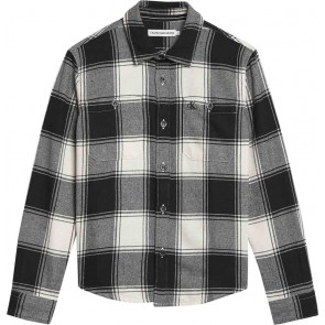 Calvin Klein jeans winter check shirt geruite flanel blouse in de kleur zwart/wit