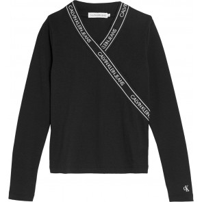 Calvin Klein jeans overslag wrap slim top in de kleur zwart