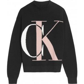 Calvin klein jeans girls fijngebreid monogram sweater trui in de kleur zwart