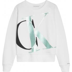 Calvin klein jeans girls sweater trui exploded monogram in de kleur wit/mint