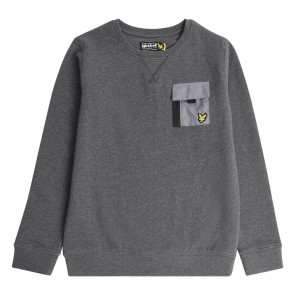 Lyle and Scott boys sweater trui met mini logo en borstzakje in de kleur antraciet grijs