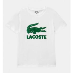 Lacoste kids boys t-shirt met grote krokodil in de kleur wit