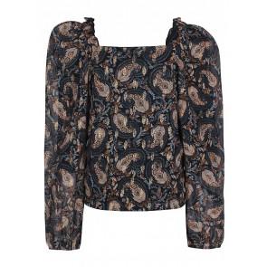 D-xel lange blouse Anella met print in de kleur goud/blauw