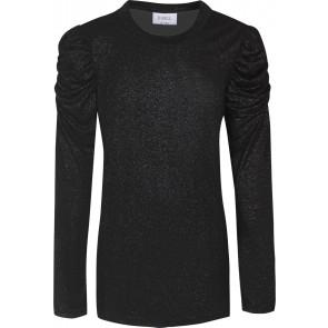 D-xel vallis longsleeve kanten top met glitters in de kleur zwart