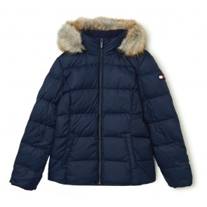 Tommy Hilfiger kids girls winterjas essential basic down in de kleur donkerblauw