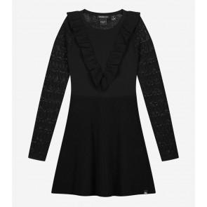 Nik en Nik girls stretch jurk Jelina dress met roezels in de kleur zwart
