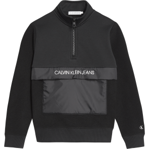 Calvin Klein kids boys fleece zip mock sweater trui in de kleur zwart