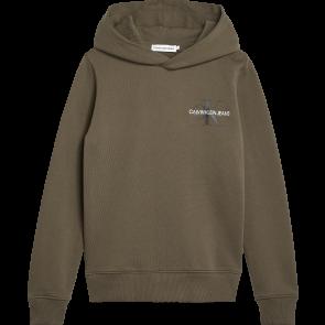 Calvin Klein kids hoodie sweater trui small monogram in de kleur army green groen