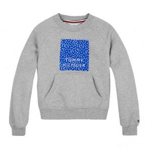 Tommy Hilfiger floral graphic crew sweatshirt in de kleur grijs/kobalt