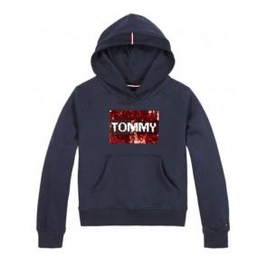 Tommy Hilfiger kids girls hoodie sweater trui met pailletten in de kleur donkerblauw