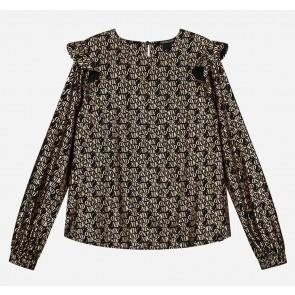 Nik en Nik blouse ruches tasha text blouse in de kleur zwart/goud