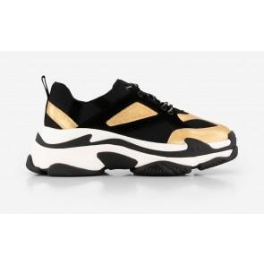 Nik en Nik schoenen chunky sneakers in de kleur zwart/goud