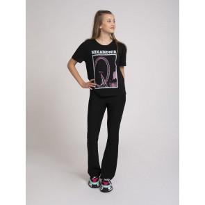 NIk en Nik girls Debora t-shirt met roze print in de kleur zwart