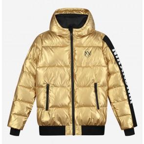 Nik en Nik girls extra warme winterjas Jasmine jacket in de kleur goud/zwart