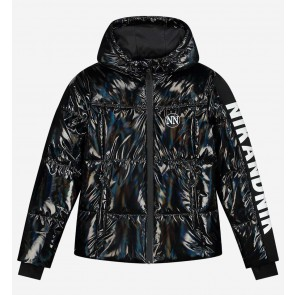 Nik en Nik girls extra warme winterjas Elsy jacket in de kleur glanzend zwart