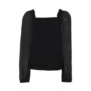 D-xel Anella top met see through mouwen in de kleur zwart