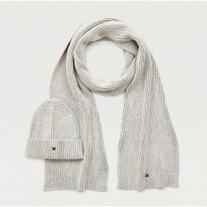 Tommy Hilfiger mute en sjaal set rib scarf in de kleur grijs