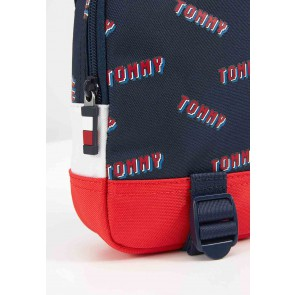 Tommy Hilfiger mini me reporter cross body bag in de kleur donkerblauw/rood