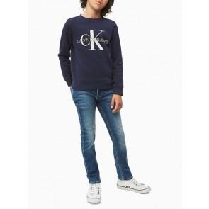 Calvin klein kids monogram logo sweater in de kleur donkerblauw