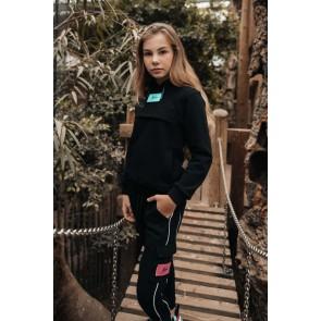 Malelions kids junior hoodie sweater anorak velcro wissel logo in de kleur zwart