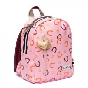 Zebra trends rugzak S horseshoe hoefijzer in de kleur pink/roze