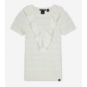 Nik en Nik girls Jelina short sleeve top broderie in de kleur vintage white