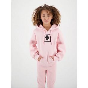 Reinders kids headlogo square hoodie sweater in de kleur baby pink