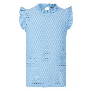 Retour jeans girls top Fay met broderie in de kleur lichtblauw