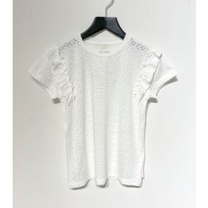 AI&KO girls Sally broderie t-shirt in de kleur off white