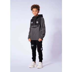 Black Bananas kids junior JR block anorak windbreaker jas in de kleur zwart/grijs