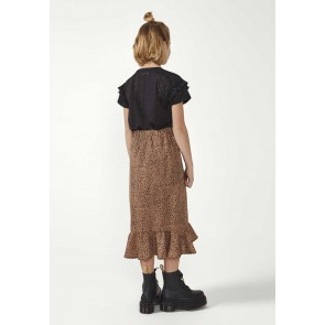 AI&KO girls Noelle lange ruffle rok crema in de kleur zwart/bruin