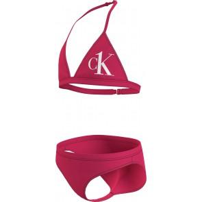 Calvin Klein girls triangle bikini set in de kleur cerise roze