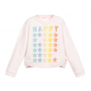 Billieblush longsleeve Happy met sterren in de kleur zachtroze