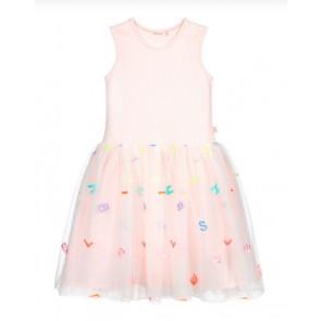 Billieblush tule jurk met letter print in de kleur zachtroze
