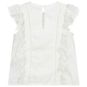 Zadig en voltaire girls blouse van katoen met ruches in de kleur wit