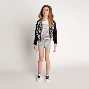 Zadig en voltaire girls t-shirt Je m'en Fous in de kleur off white