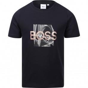Hugo Boss kids Graphic t-shirt met logo print in de kleur donkerblauw