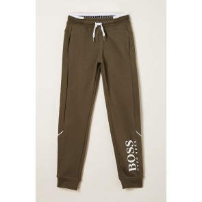 Hugo Boss kids sweatpants broek met logo print in de kleur army green