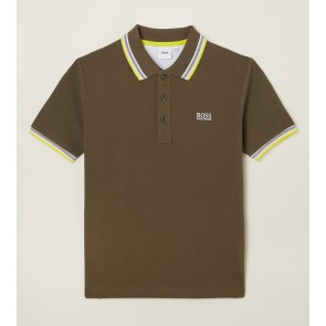 Hugo Boss kids polo t-shirt met gele details in de kleur army green groen