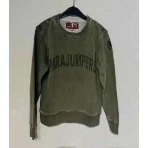 Parajumpers boy caleb sweatshirt trui met logo print in de kleur army green groen