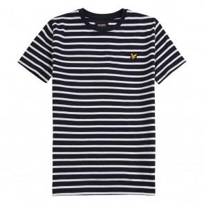 Lyle and Scott kids junior t-shirt met strepen in de kleur blauw/wit