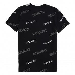 Lyle and Scott kids junior t-shirt met all-over logo print in de kleur zwart