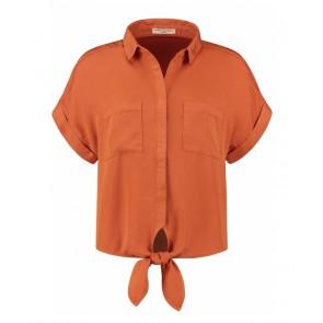 Circle of trust girls Bobby knoop blouse in de kleur roestbruin